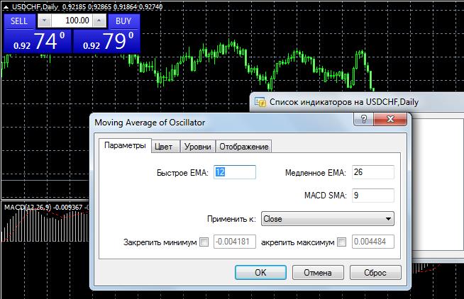 Параметры индикатора OsMA в меню МТ4