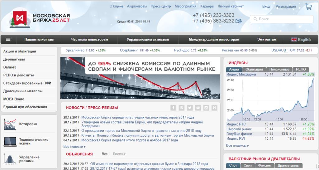 Сайт Московской биржи