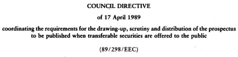 Council Directive 89/298/EEC от 17.04.89