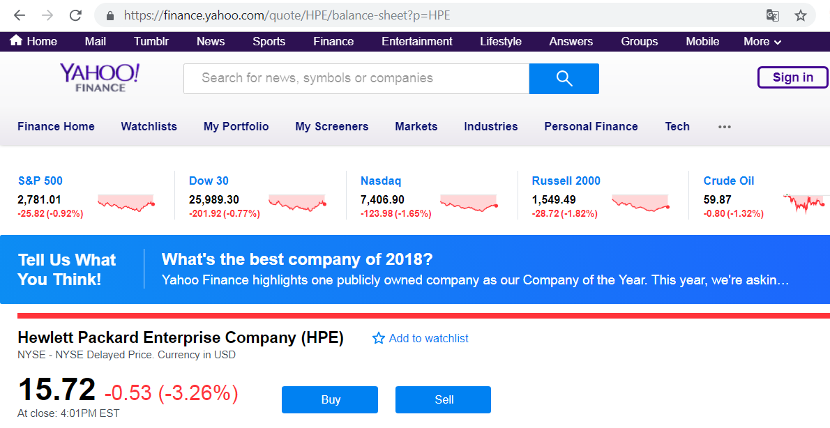 Сайт Yahoo! Finance