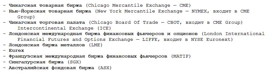 Список наиболее известных в мире бирж, на которых можно торговать фьючерсами
