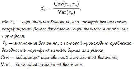 Формула расчёта коэффициента Бета