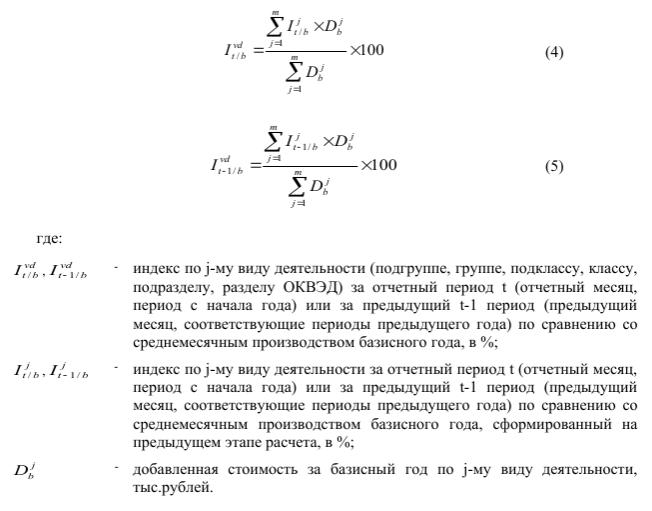 Формулы для расчёта агрегированных индексов производства