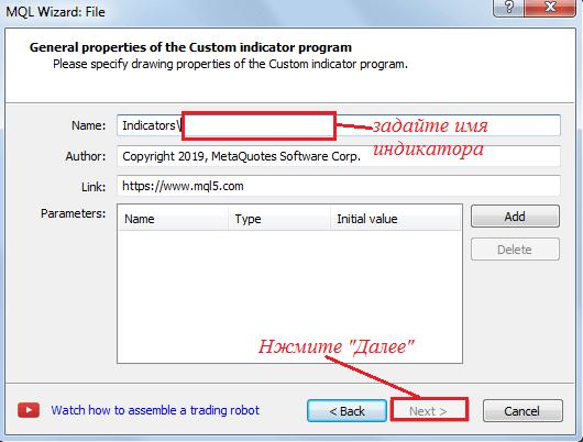 Задание имени нового индикатора в редакторе кода МТ4
